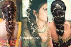 The best south indian bridal hairstyles handpicked for you to sail through your wedding day. wedding hairstyles for all face shapes Lehenga Hairstyles, Bollywood Hairstyles, Old Hairstyles, Indian Bridal Hairstyles, Elegant Hairstyles, Wedding Hairstyles, Engagement Hairstyles, Cornrows, Braids