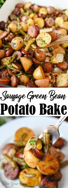 Sausage And Green Beans, Green Beans And Potatoes, Baked Green Beans, Can Green Beans, Best Side Dishes, Side Dish Recipes, Easy Dinner Recipes, Ww Recipes, Family Recipes