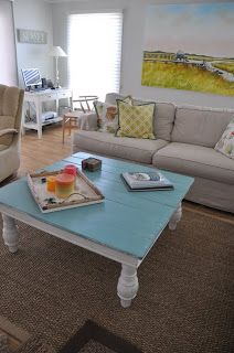 coffee table - teal and distressed like this option. keep chairs