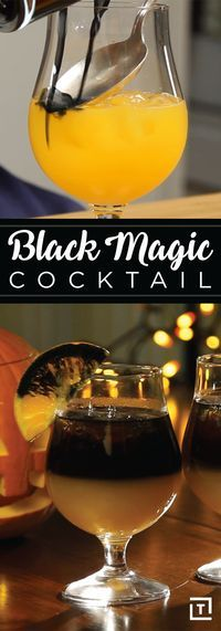 Want to sip like a Sanderson sister this Halloween? In lieu of voodoo, cast a spell with this black magic cocktail from our friends at DrinksMadeEasy. Made with bright citrus and classic vodka, this colorful concoction is as refreshing as a spooky Screwdr Halloween Cocktails, Soirée Halloween, Holiday Drinks, Halloween Treats, Bar Drinks, Cocktail Drinks, Yummy Drinks, Cocktail Recipes, Beverages