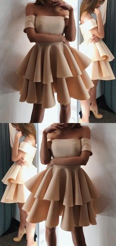 Cute A-line Off The Shoulder Ruffles Homecoming Dresses Short Champagne Prom Dresses 2018 For Birthday Party #cutepromdresses