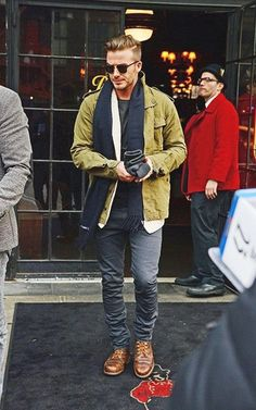 Solid colors with a scarf and distressed boots! Dammit David! #mens #style