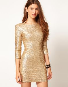 gold sequin dress with long sleeves