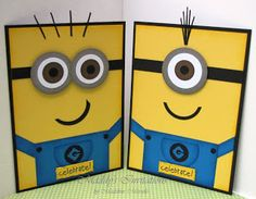 handmade cards from Despicable Me ...  Minions  ... punch art ... yellow, white, black and blue ... delightful and fun!