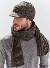 Crochet Blankets For Men Mag. 183 - n° 38 Casquette - Men Crochet Scarf Pattern Free, Crochet Mens Scarf, Crochet Blanket Patterns, Crochet Scarves, Crochet Hats, Crochet Blankets, Knit Hat For Men, Hats For Men, Mens Scarf Fashion