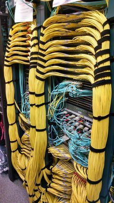 Serious computer networking. That is a lot of data running on those yellow Ethernet network cables.