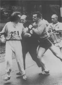 Think your last race was tough? Try running one when an angry official is trying to kick you out for being a girl. Kathrine Switzer ran the Boston Marathon in '67 when it was male-only. Fortunately her boyfriend was much bigger than the official and sent him flying and she finished in about 4:20.