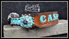 Custom dog collar/owners phone # stamped into leather