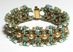 CREU SuperDuo Pearls  Swarovski beads Beadwork Bracelet tutorial