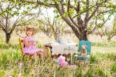Little girls tea party photo idea. Teddy bear picnic. Children's picture set up. Outdoor, natural light, Colorado Springs, CO #BellaFotiaDesign