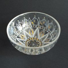 """Hand engraved on small glass bowl, Mandala decor, Wedding ring dish, jewelry tray, Copper Home Decor, Wedding Favors, Tealight Votive Holder    This is one beautiful glass bowl. It is hand-engraved with a stylish mandalas design.    It is a perfect for holding wedding rings or other small jewelry, even coins, tealight votive holder. It looks so lovely on the night stand.    Measurements of the large bows: 4.7"""" / 12cm / diameter above; 2 """" / 5 height…"""