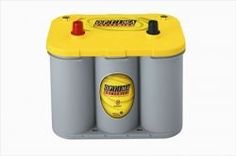 OPTIMA® Batteries YELLOWTOP®  —  The YellowTop gives me the cold cranking amps (CCA) of a main starting battery, with the ability to be repeatedly discharged like a deep cycle battery. I'll have two of these batteries under the hood. (0IIIIIII0)