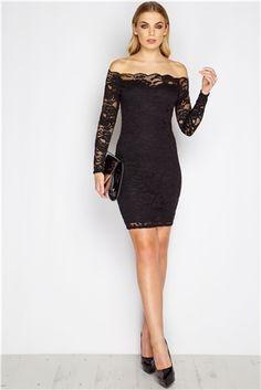 Leona Black Lace Off The Shoulder Dress at misspap.co.uk