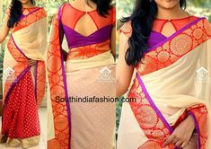 Stylish sari blouse pattern Click the link to learn more about ~ Choli Designs, Saree Blouse Neck Designs, Fancy Blouse Designs, Saree Blouse Patterns, Boat Neck Saree Blouse, Indian Blouse Designs, Netted Blouse Designs, Peplum Blouse, Leighton Meester