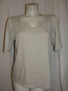 by CHICOS Womens Top Beige/Light Brown Scoop Neck Short Sleeve Shirt Size 3 XL #Chicos #KnitTop #Casual