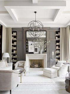 VT Interiors - Library of Inspirational Images: Simply Lucite  - THIS GORGEOUS ROOM LOOKS FABULOUS WITH THE BOOK SHELVES EITHER SIDE OF THE FIREPLACE. & STUNNING LIGHT FITTING & DECOR!#️⃣