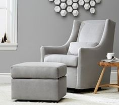Shop modern nursery chairs that will bring style into the room without sacrificing your comfort. Discover Pottery Barn Kids' modern nursery gliders, rockers, and ottomans that are stylish and safe. Glider Recliner, Glider And Ottoman, Modern Baby Furniture, Playroom Furniture, Baby Bedding Sets, Mattress Pad, Cozy Place, Gliders, Pottery Barn Kids