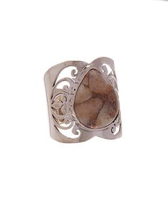 Another great find on #zulily! Sterling Silver & Leopard Jasper Hand-Cut Band Ring #zulilyfinds