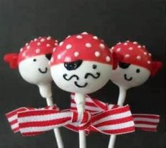 I made these cake pops for Madden's birthday party! I LOVE cake pops! Pirate Birthday, Pirate Theme, 3rd Birthday Parties, Birthday Ideas, 4th Birthday, Cakepops, Halloween Cake Pops, Cupcakes Decorados, Cute Cakes