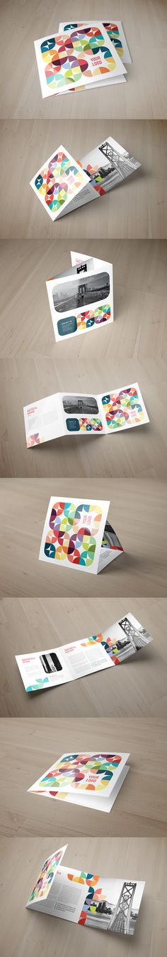 Square Colorful Circles Pattern Trifold. Download here: http://graphicriver.net/item/square-colorful-circles-pattern-trifold/10740784?ref=abradesign #brochure #design