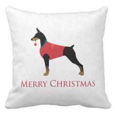 Doberman Pinscher Dog Merry Christmas Design Pillow