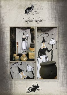 White Witch Halloween cross stitch pattern by The Primitive Hare at cottageneedle.com OPTIONAL threads monochromatic October by thecottageneedle