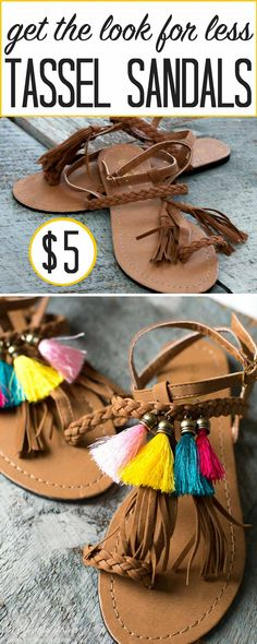 These DIY Sandals are a fun project for Sring and Summer to add some HAPPY to your simple sandals. Diy Tassel, Tassels, Reuse Clothes, Do It Yourself Fashion, Fringe Sandals, Easy Craft Projects, Craft Ideas, Diy Fashion, Fashion Hair