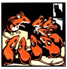 Christopher Wormell - I love how the eye lingers for a while on the mice before noticing the quiet cat in the background, waiting to pounce.