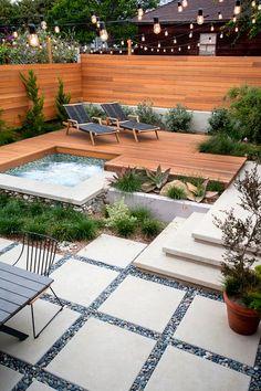 53 Cozy Backyard Patio Deck Design & Deco Ideas - Deco patios In the Hot Tub Deck, Hot Tub Backyard, Small Backyard Landscaping, Landscaping Ideas, Backyard Pavers, Concrete Patio, Pergola Patio, Backyard Kitchen, Narrow Backyard Ideas