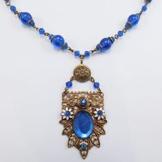 ART DECO COBALT FILIGREE ENAMEL CZECH NECKLACE