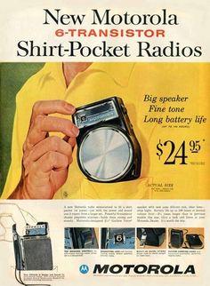 "Items similar to ""Motorola Shirt - Pocket Radio"" Ad - May 1960 on Etsy Old Advertisements, Retro Advertising, Retro Ads, Vintage Ads, Vintage Posters, Vintage Soul, Lps, Big Speakers, Pocket Radio"