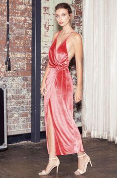 Herve Leger Pink V Neck Cross Over Velvet Gown