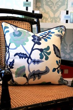 Quadrille Fabric Potalla Pillow Cover 20X20 with Navy Welt