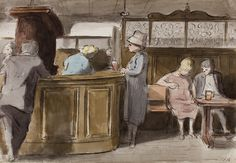 Pub bar, Maida Vale - Edward Ardizzone RA. Because of the partitions, this looks like it could be the Prince Alfred on Formosa Street.