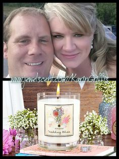 Post either an engagement or wedding pic of you and your beloved on your FACEBOOK timeline, tag it with #JewelScentwithKarinGriffis and be entered to win our new Wedding Bliss candle! Fine Print:Contest ends 8/20. Also running on Karin's JewelScent Spa Club. There'll be 1 winner from all entries. Must be registered with www.jewelscent.com/KarinGriffis to participate. You can register at any time, no purchase necessary. This contest is not endorsed by Pinterest, Facebook or JewelScent.