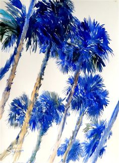 Original art for sale at UGallery.com | Blue Palm Trees (Vertical Composition) by Suren Nersisyan | $500 | watercolor painting | 30' h x 22' w | http://www.ugallery.com/watercolor-painting-blue-palm-trees-vertical-composition