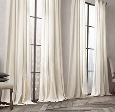 "Belgian Opaque Linen Drapery, Restoration Hardware, 108""L, 50"" and 100"" widths, on sale $109-$319"