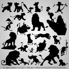 """Buy 2 Get 1 Free! Digital Clipart Silhouettes """"Lion King"""" cartoon characters Disney party, black images png/eps/svg/dxf/pdf/studio files Buy 2 Get 1 Free! Roi Lion Simba, Le Roi Lion, Silhouette Lion, Cartoon Silhouette, Disney Font Free, Disney Fonts, Disney Shirts, King Cartoon, Cartoon Fish"""