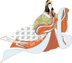 A woman dressed in junihitoe dancing.