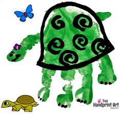 Turtle Handprint Kids Zoo Craft