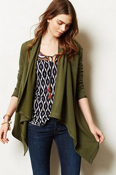 Kinsey Fleece Cardigan #anthropologie- so excited to get this - I love the way it is structured in the back - wonder if I will regret not getting it in black?