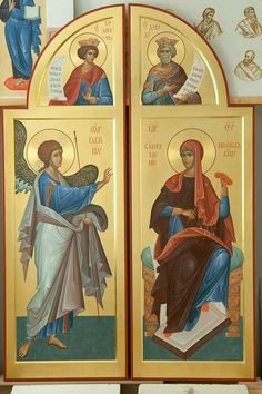 The Royal Doors with the icons of King Solomon and King David as well as the Annunciation. Raphael Angel, Archangel Raphael, Byzantine Icons, Byzantine Art, Religious Images, Religious Art, Faith Of Our Fathers, Fortune Cards, Royal Doors
