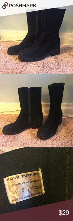 Hush Puppies Boots waterproof suede mid calf zip Vintage hush puppies waterproof suede mid calf boots. Generous Calf. Zip up. Double stitched, skidoroof rubber sole. Quilted lining. Barely worn. Black. Size 10 Hush Puppies Shoes