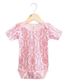Look at this The Laughing Giraffe Pink Damask Short-Sleeve Bodysuit - Infant on #zulily today!