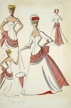 Edith Head - Esquisses et Croquis - Costumière - Les Jarretières Rouges - 1954 - Rosemary Clooney