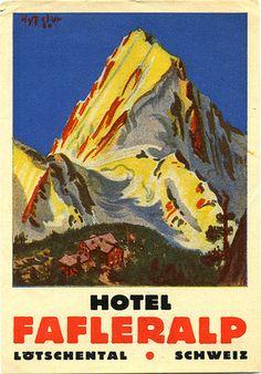 switzerland fafleralp | Art of the Luggage Label | Flickr Swiss Travel, Poster City, Vintage Posters, Luggage Labels, Travel Posters, Alps, Collection, Europe, Switzerland