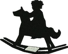 Child On Rocking Horse Silhouette Embroidery Design