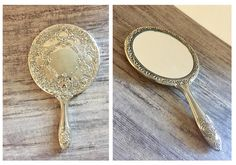 Gorgeous antique style silver hand mirror for sale by OneStopSteamShoppe on Etsy #Handheldmirror #Vintage #Antiquestyle #SilverMirror #Mirror #HandMirror #Collectible #VintageHandMirror #VintageHandheldMirrors #vtg