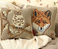 Adorable hand-hooked pillows designed by a Vermont artist