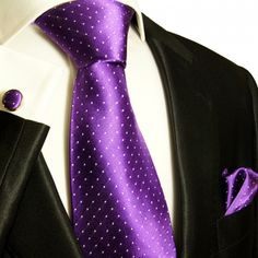Paul Malone Silk Tie Set - Purple and White Polka Dots